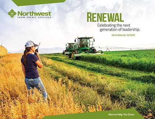 Northwest Farm Credit Annual Report Cover photo by Corporate photographer Darrin Schreder