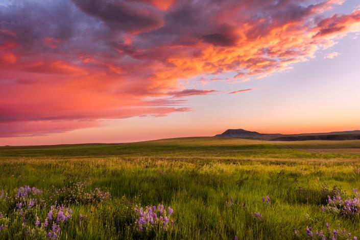 Landscape Photography. Sunrise over Belt Mountain, Belt Montana